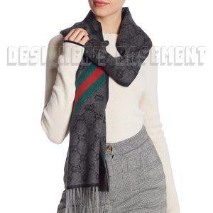GUCCI charcoal GG web NIKKY Wool / Angora scarf 🎁
